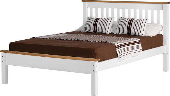 Monaco Bedframe - 4FT6 Low End - White/Distressed Waxed Pine