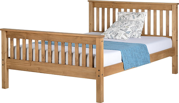 Monaco Bedframe - 4FT6 High End - Distressed Waxed Pine