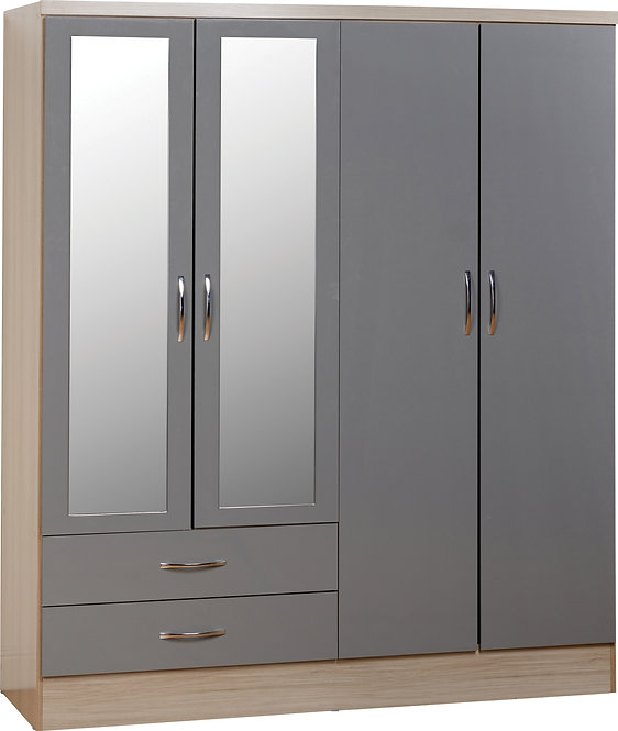 Nevada 4 Door 2 Drawer Mirrored Wardrobe - Grey