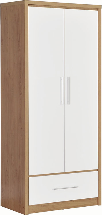 Seville 2 Door 1 Drawer Wardrobe - White