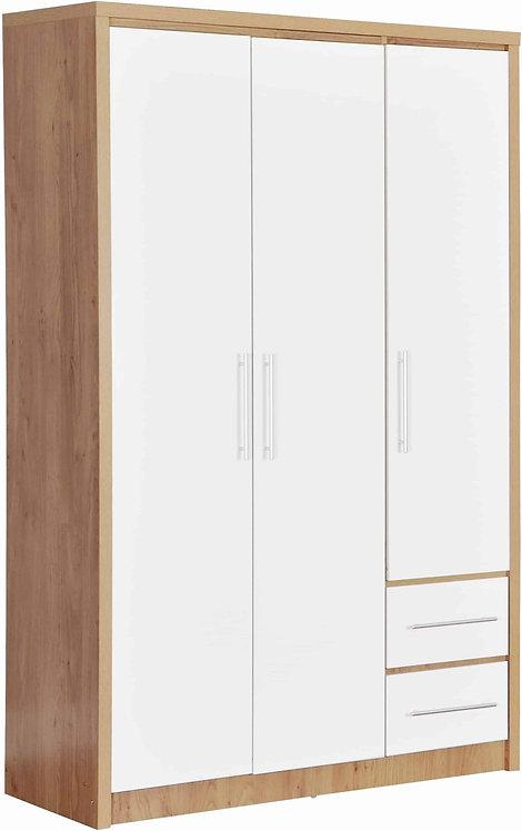 Seville 3 Door 2 Drawer Wardrobe - White