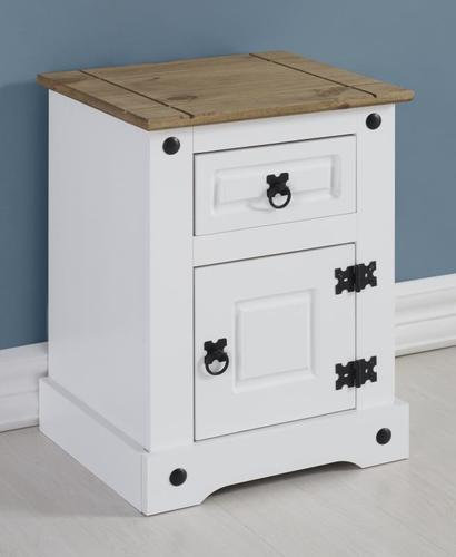 Corona 1 Drawer 1 Door Beside Cabinet - White