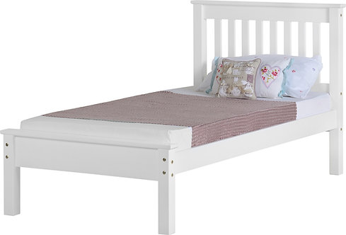 Monaco Bedframe - 3FT Low End - White