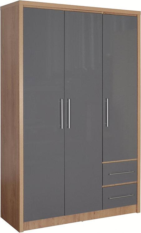 Seville 3 Door 2 Drawer Wardrobe - Grey