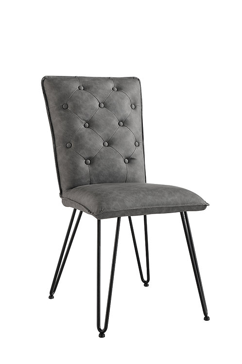 Chicago Studded Back Chair with Hairpin Legs