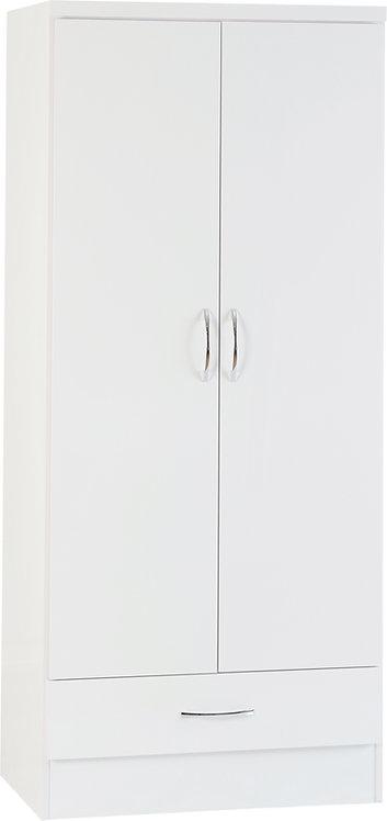 Nevada 2 Door 1 Drawer Wardrobe - White