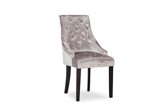 Hobbs Crushed Velvet Dining Chair - Wenge Leg - Silver