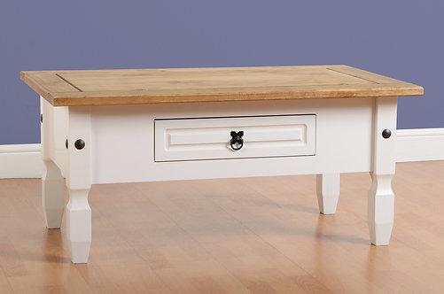 Corona 1 Drawer Coffee Table - White