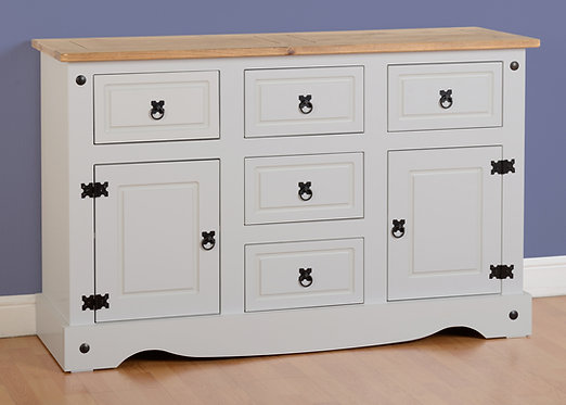 Corona 2 Door 5 Drawer Sideboard - Grey
