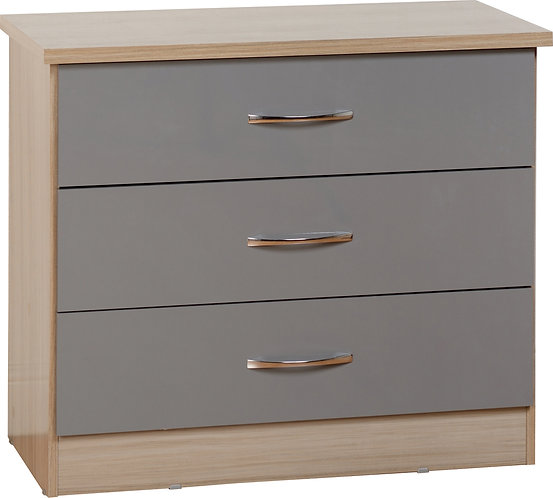 Nevada 3 Drawer Chest - Grey
