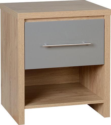 Seville 1 Drawer Bedside Locker - Grey