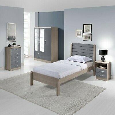 Nevada 3ft Bed in Grey Gloss/Light Oak Effect Veneer