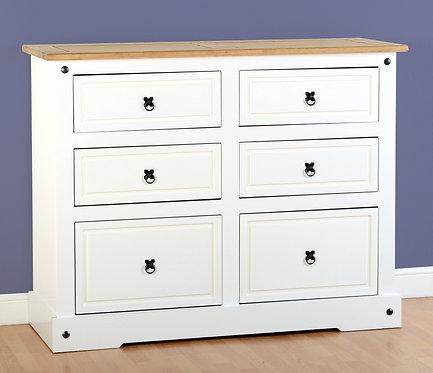 Corona 6 Drawer Chest - White