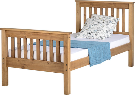 Monaco Bedframe - 3FT High End - Distressed Waxed Pine
