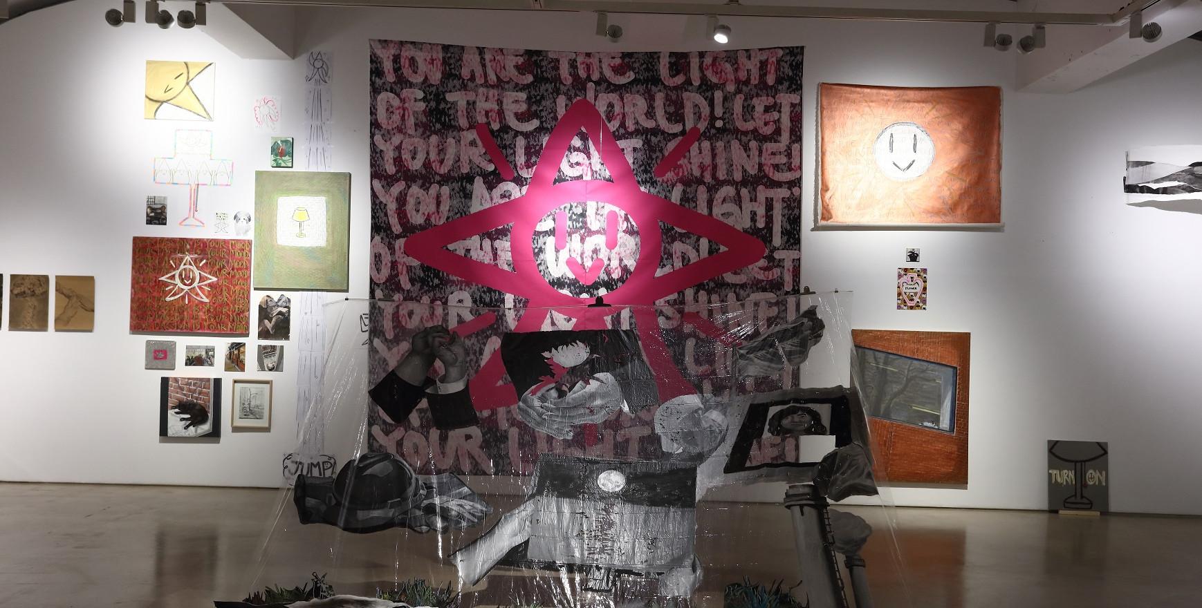 Link, 300 x 300 cm, 현수막, 비닐 위에 아크릴, 종이위에 목탄, 프린트 , 2019