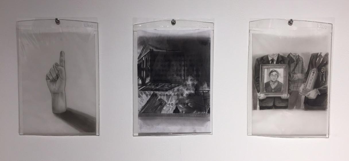 자회상, 29 x 21cm, Oil pencil , Conte , Charcoal, Pencil on tracing paper , 2019
