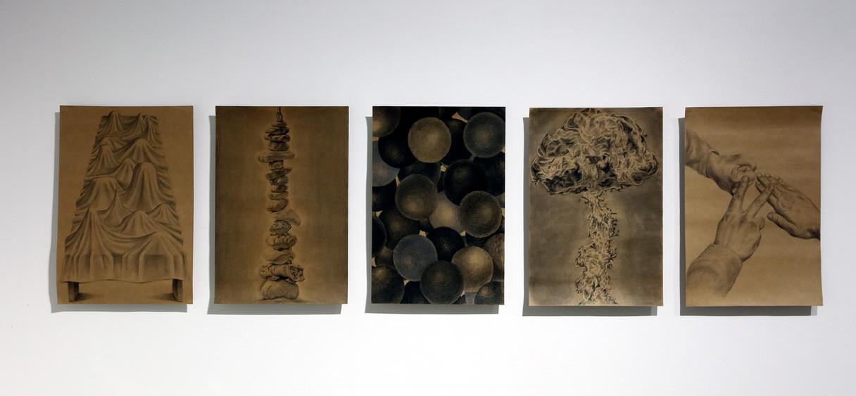 무제, 36 x 25 , Oil pencil , Conte , Charcoal, Pencil on paper , 2019