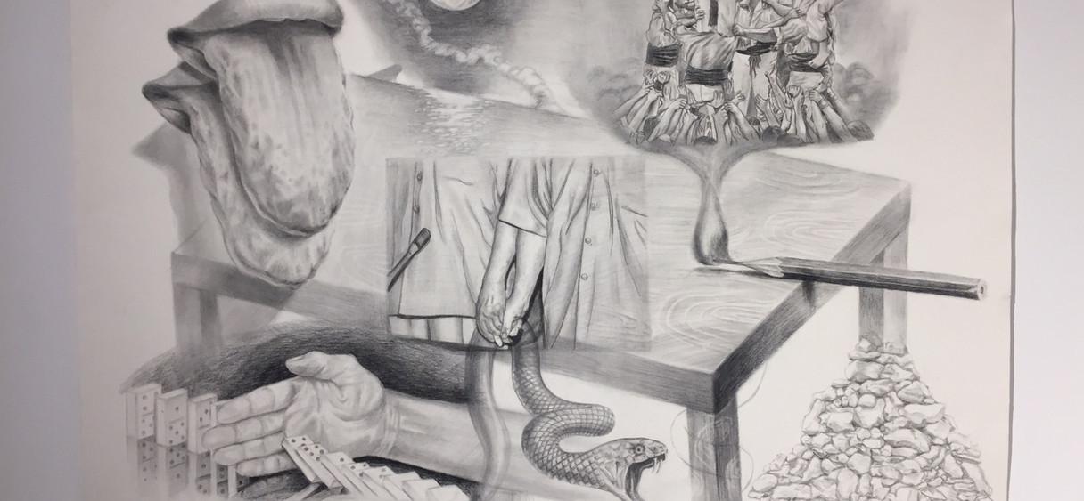 무제, 100 x 70 cm, Oil Pencil on paper,  2019