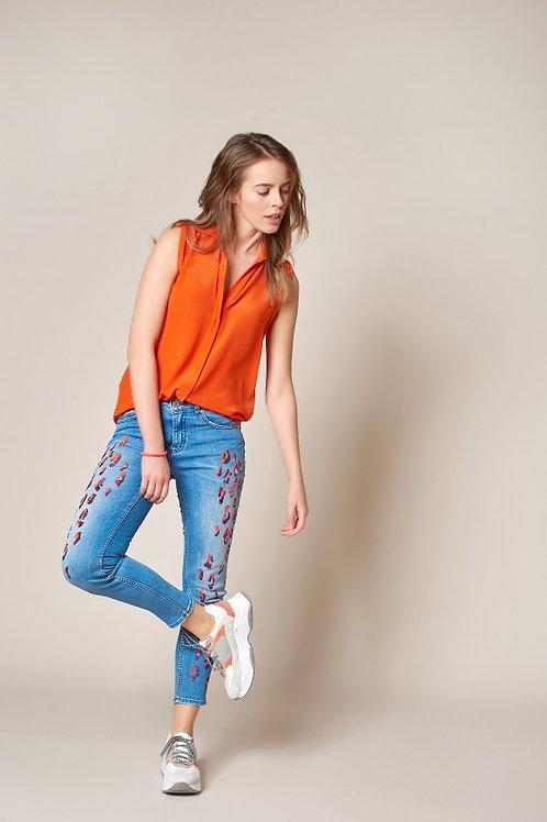 Jeans Antonia_248 lapidé bleu Denim de luxe