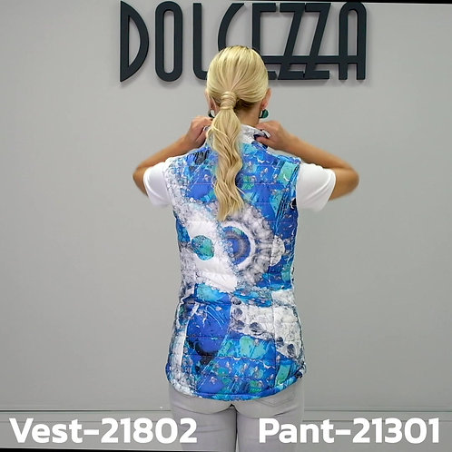 DOLCEZZA - GILET SANS MANCHE BLUE WHITE