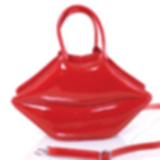 purse; handbag; red; red lips; red lips purse; patent leather