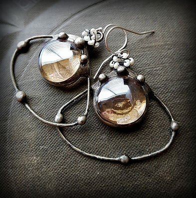 Rustic Hoops with Citrine Glass and Pearls