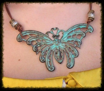 Gorgeous Handmade Patina Butterfly Necklace