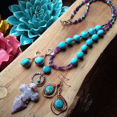 Amethyst Arrowhead/Turquoise Bead Necklace
