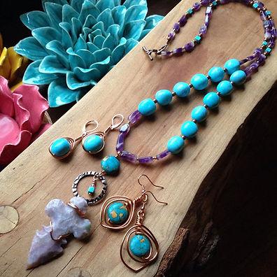 Amethyst Arrowhead/Turquoise Bead Necklace
