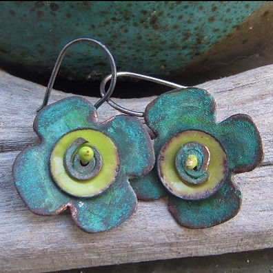 Patina Copper Spring Flower Earrings