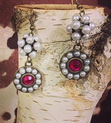Pearls, Pearl Cluster, and Raspberry EarringsPearl,