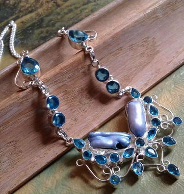 Stunning Blue Topaz & Biwa Pearl Necklace
