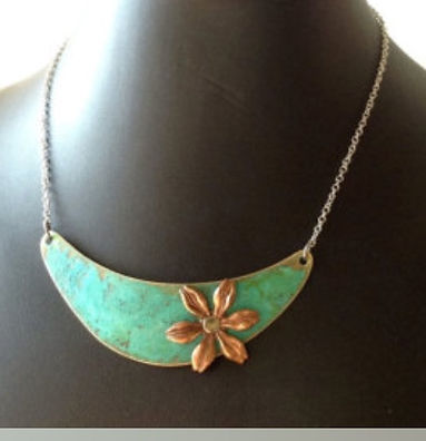 Patina Metal Flower Necklace