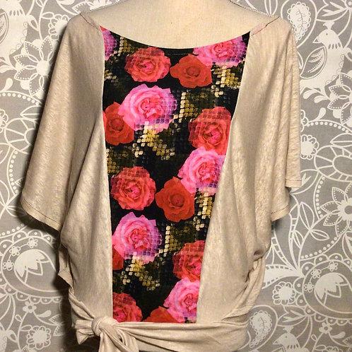 blouse en lin naturel et plastron coton taille S/M