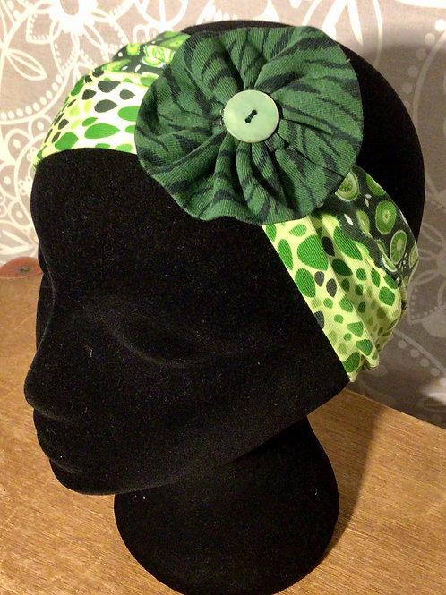 bandeau fleur imprimé vert