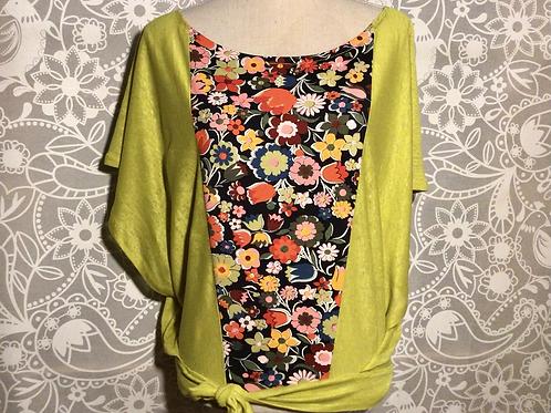 blouse lin naturel plastron coton Taille S/M
