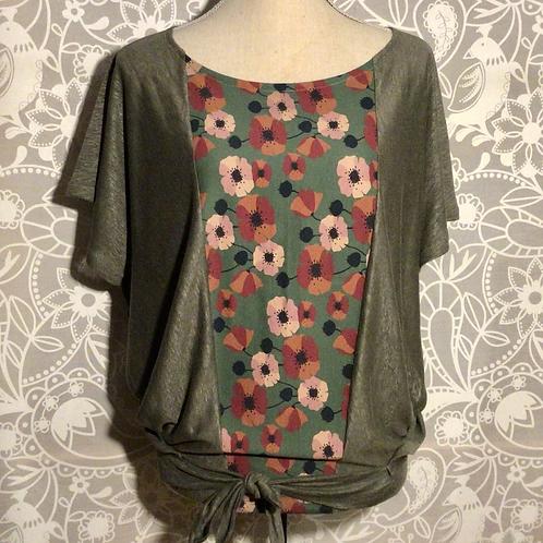 blouse lin naturel plastron coton taille M/L