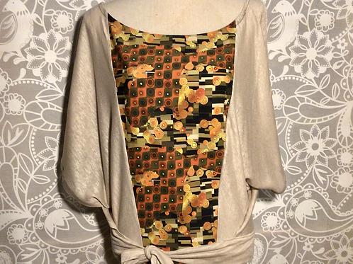 blouse lin naturel et plastron coton taille S/M