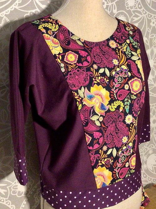 haut violet  fleuri manche 3/4 taille S
