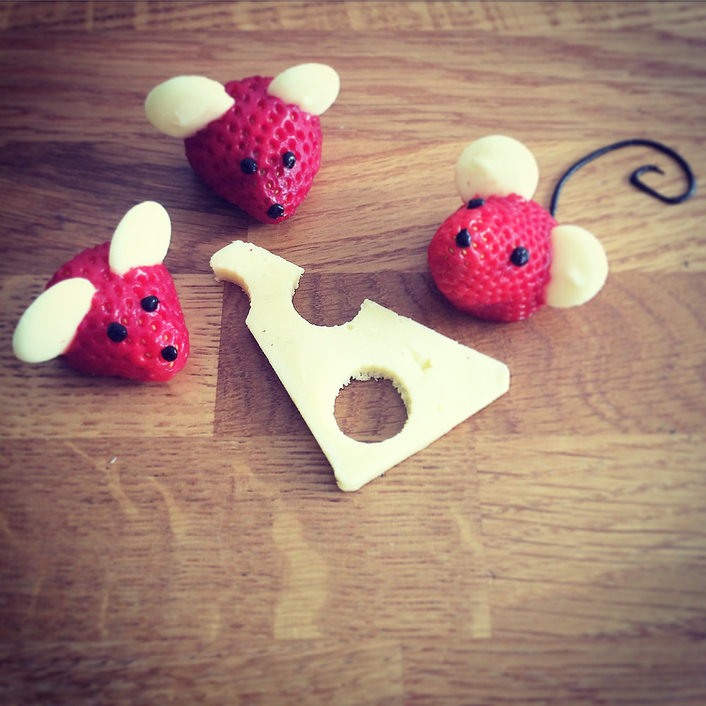 Strawberry mice!  White choc button ears and a tasty piece of cheddar