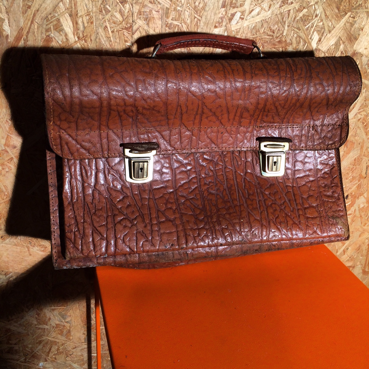 Læder skoletaske