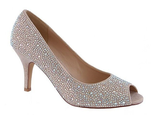 Champagne Crystals Stones Open Toe Occasion Court Shoe