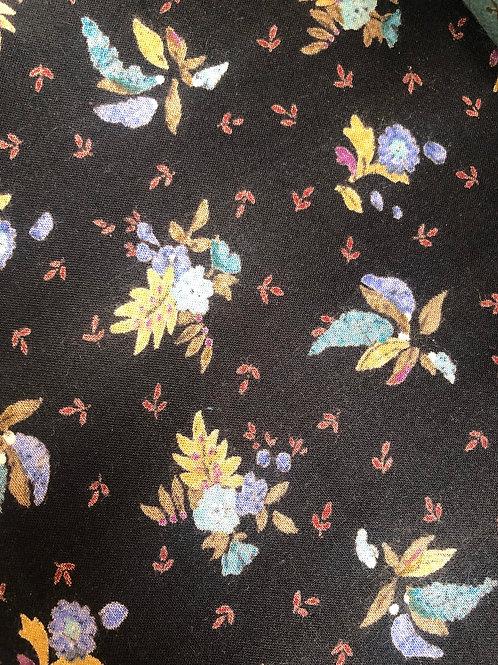 Black Flower Fabric