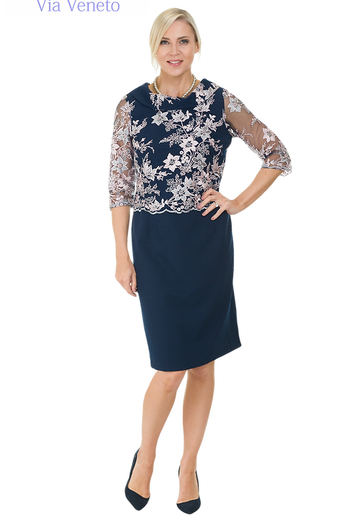 Via Veneto Navy Dress