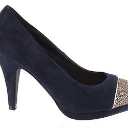 Barino Bar-362 Navy Suede Gold Peep Toe Platform Court Shoe