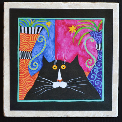 Cat Red Handed, Coaster 4x4 inches