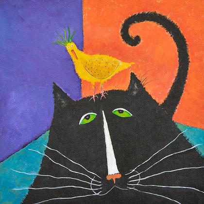 "Blank Greeting Card, ""Cat Bird Seat"""