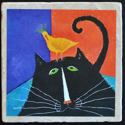 Cat Bird Seat, Coaster 4x4 inches