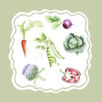 LIMITED EDITION Green 'Kitchen Garden' Vegetable Collection (40cm x 40cm)