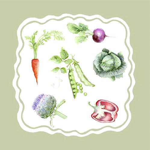 The 'Kitchen Garden' Linen x4 Napkin Set
